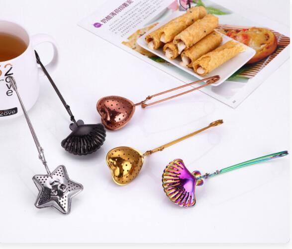 DHL Colorful Tea Strainer Stainless Steel Tea Infuser Wire Handle Home Supplies Coffee Star Shell Heart shape Tea Tools nt