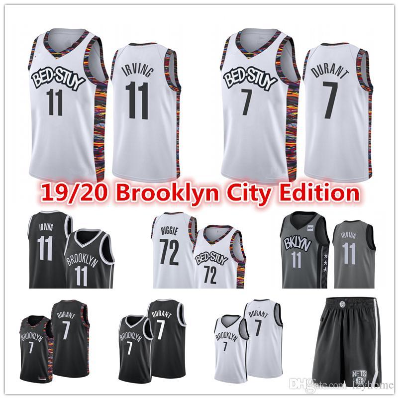 Кевин Дюрант 7 Джерси Kyrie # 11 Ирвин 72 Biggie Small Spencer 8 Dinwiddie шорты баскетбола Джерси-СитиBrooklynсети20