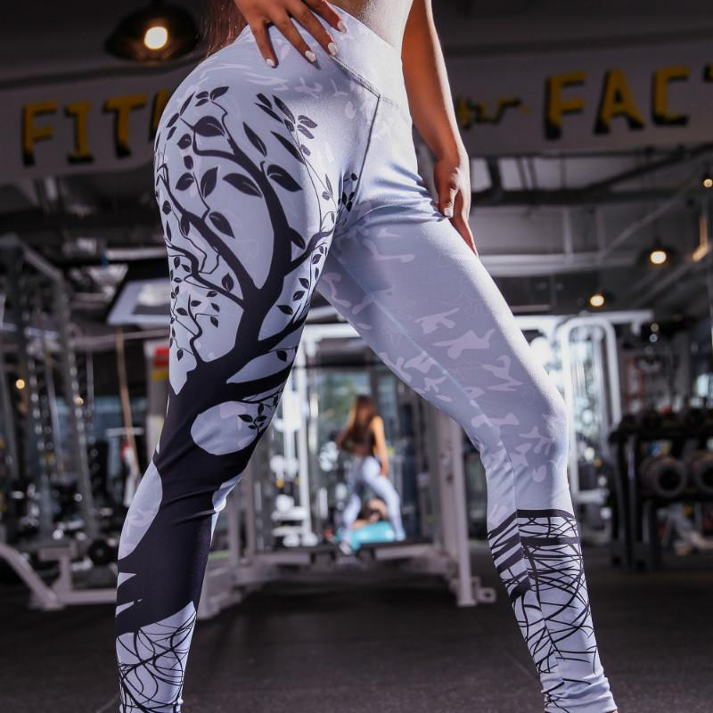 Womens Designer Sweatpant Fashion Tree Printing Yoga Pants High Waist Tights Pants Workout Gym Fitness Stretchy Quick-drying Leggings 2020