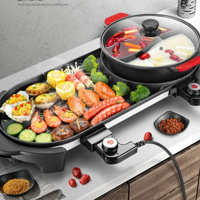 Agrandir 2 en 1 220 V électrique Hot Pot Four Smokeless Barbecue machine Accueil barbecue Grils d'intérieur rôti Viande Assiette Plat multi Cooker