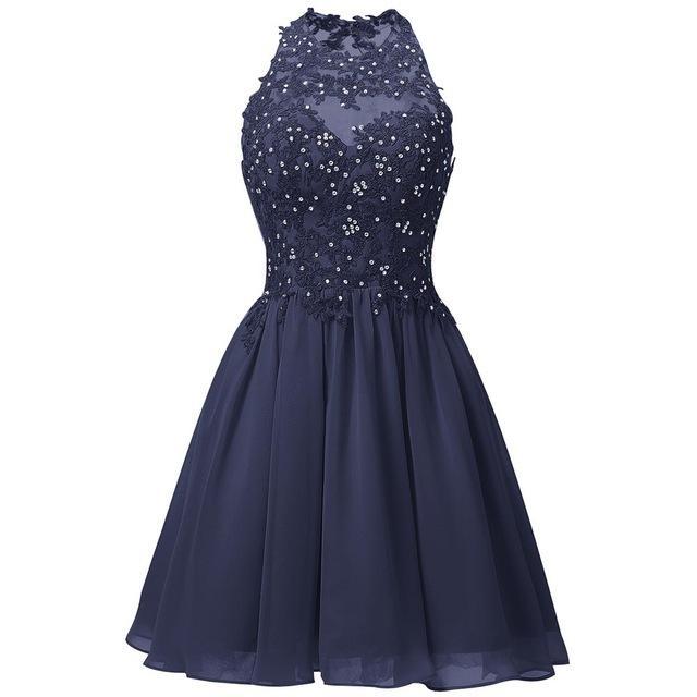 홀터 넥 쉬폰 동창회 드레스 2020 페르시 레이스 짧은 댄스 파티 드레스 무릎 길이 파티 드레스 네이비 블루 코랄 라벤더