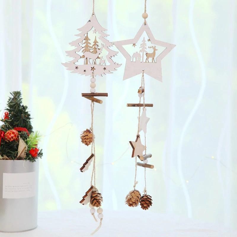 Christmas Wood Star Подвески Pine Cone Деревянные украшения рождественской елки падения украшения Xmas Декор для дома