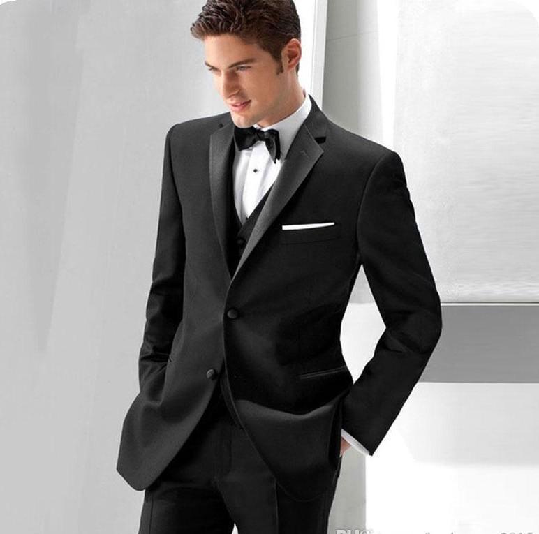 Пользовательские 2019 Черные Мужские костюмы Slim Fit Свадебные Смокинги Жених одежда 3 шт (куртка + брюки + жилет) Бизнес-Пром Костюмы Шафер Blazer