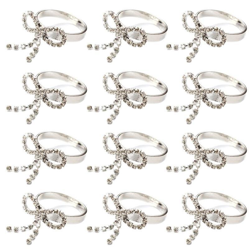 12pcs Round Ring Bowknot Napkin Holder Rhinestone Table Decoration