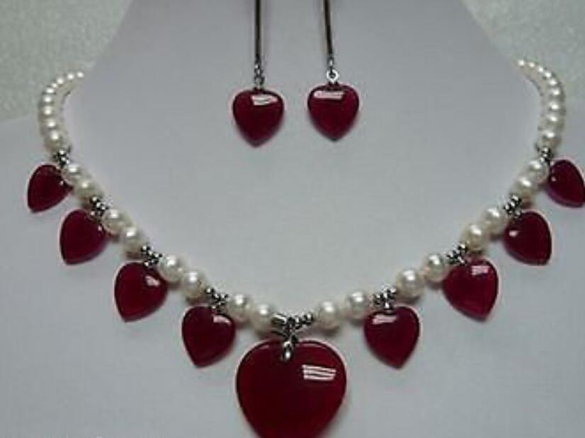 jewelryFast + Hermosa jade perla conjunto de pendientes collar blanco