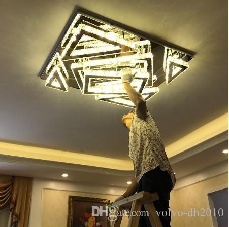 Cristal lâmpada sala atmosfera retangular simples moderna lâmpada do teto levou criativo sala de home lâmpada quarto principal AC 110V-240V LLF