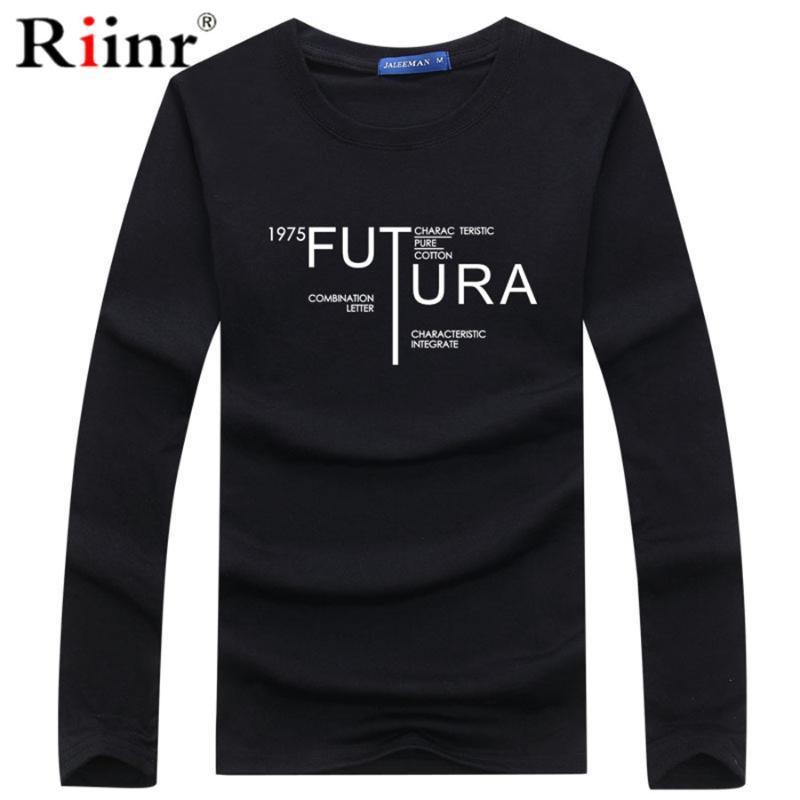 Riinr с длинным рукавом футболки Мужские футболки Harajuku письмо Версия для печати Tshirt Мужчины Hip Hop Cotton Streetwear футболочку Homme Топы тройники