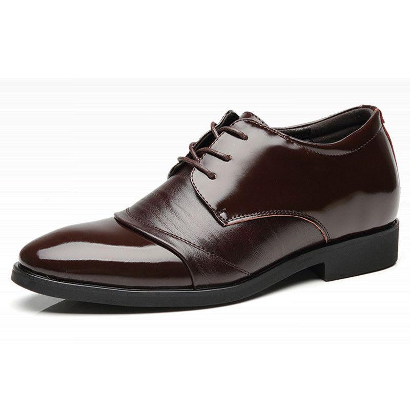 Chaussures en cuir véritable pour hommes Chaussures pour ascenseur Formal Chaussures habillées en cuir pour homme Pointu laçage Toe Hauteur 6 CM Augmentation Hommes Chaussures de mariage