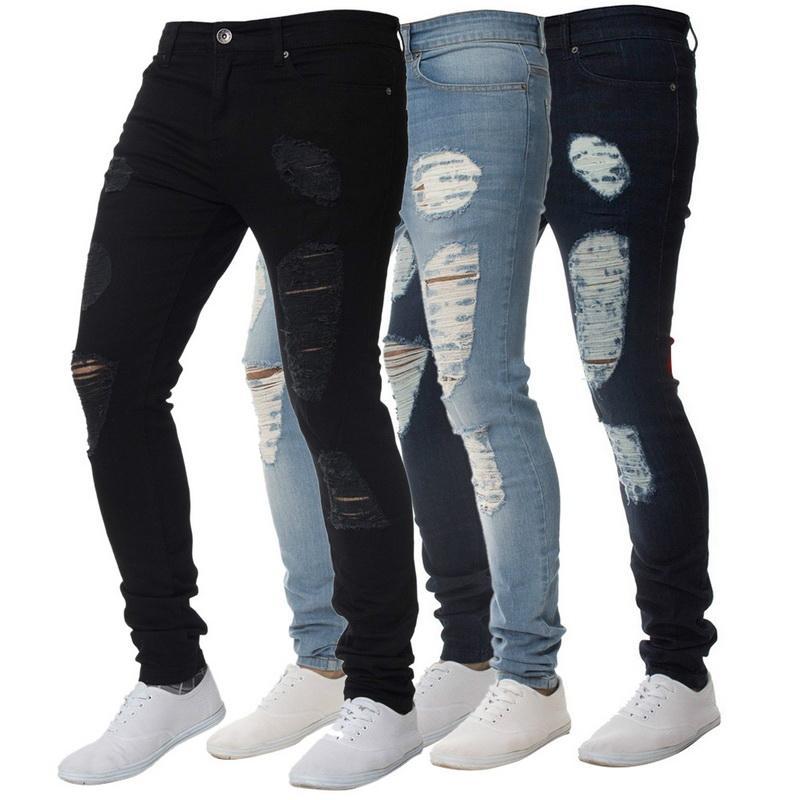 nueva colección 08fe3 51f23 Compre WENYUJH Pantalones Para Hombre De Algodón Jean Hombres Vintage Hole  Pantalones Frescos 2019 Verano Europa América Estilo Tallas Grandes 3XL ...