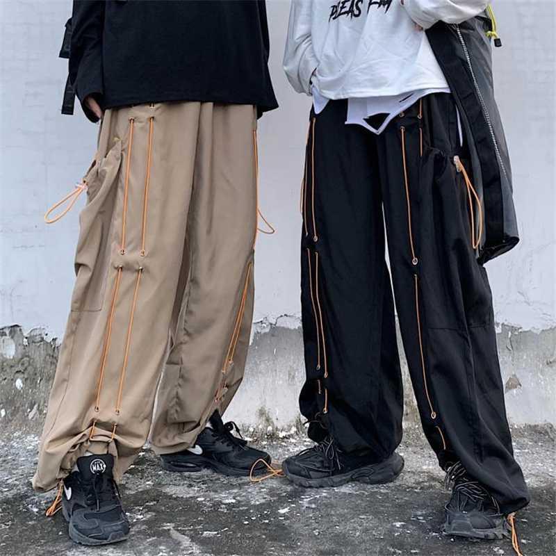 Harajuku gotico 2020 del piedino largo allentato Pantaloni Uomo stile coreano pantaloni della tuta coppie jogger fondo Ins Trend Retro scuro intersperse
