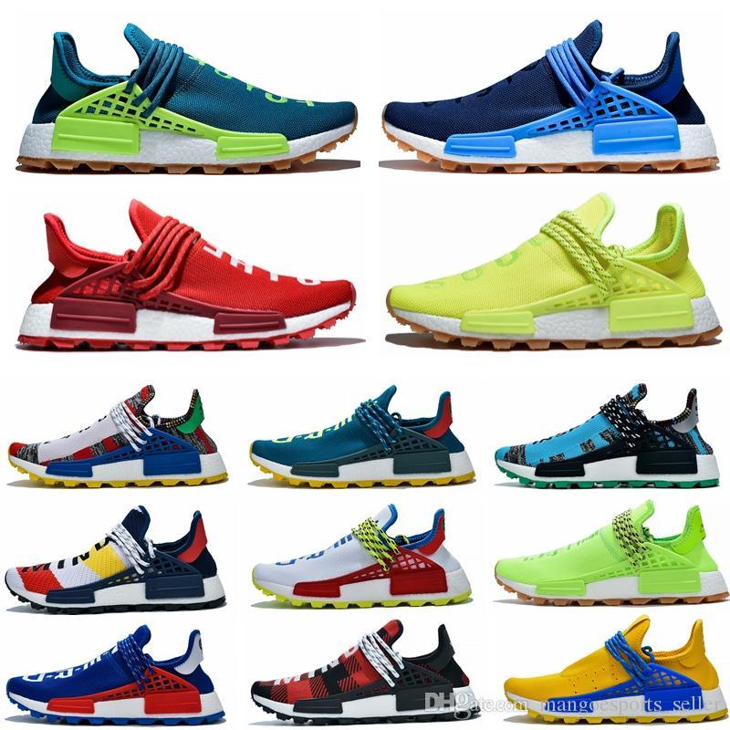 2019 Pharrell Williams NMD Human Race Hommes Femmes Chaussures de course Coeur jaune esprit BBC Black Nerd Cream Holi Sports de plein air Jogging Chaussures