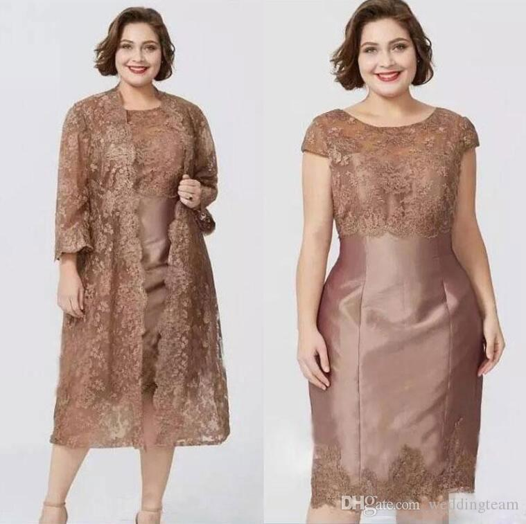 Hot Sale Lace Mother Of The Bride Dresses With Long Sleeves Jackets Evening Gowns Knee Length Taffeta Cheap Sheath Wedding Guest Dress