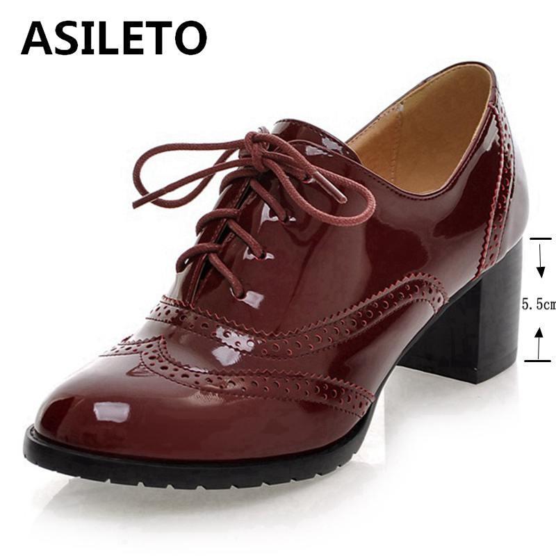 diseño de calidad 48fd3 52d6a Compre Venta Al Por Mayor Zapatos Para Mujer Zapatos Oxford Zapatos De  Charol Zapatos Bombas Tacones Altos Bombas Brogue Mujeres Lace Up Tamaño ...