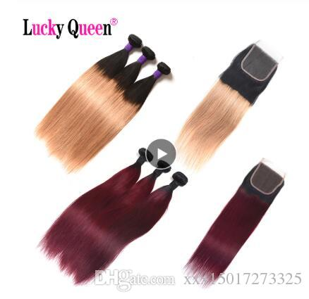 Brazilian Straight Hair Bundles With Lace Closure #1B/#99/#27/Red/Burgundy/Black Non Remy Ombre Human Hair Bundles With Closure