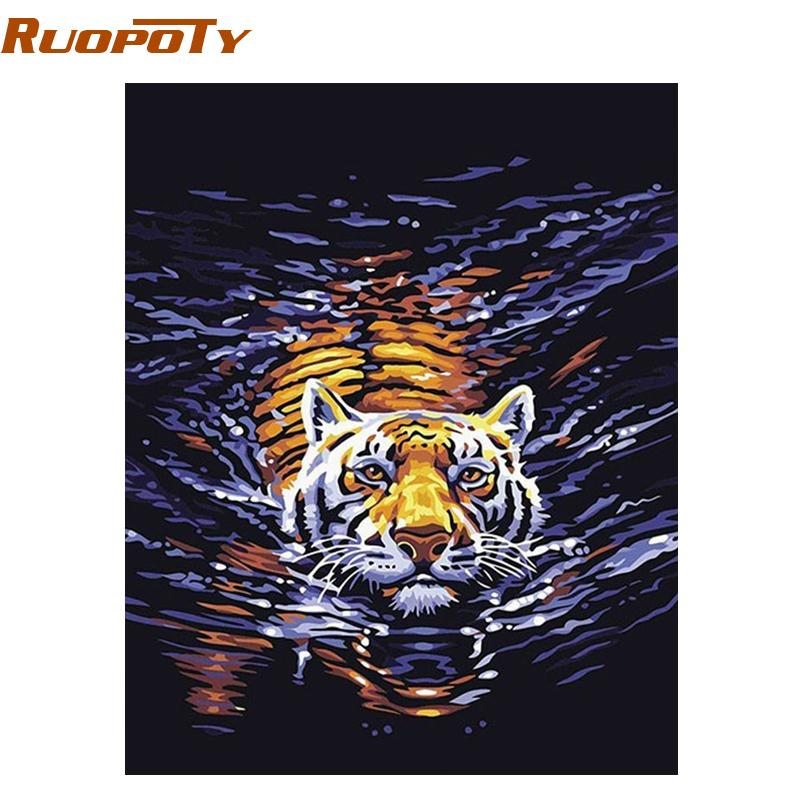 Ruopotu Water Tiger Animals Diy Digital Oil Painting By Numbers Handpainted Canvas Painting For Unique Gift Room Diy Frame 4050 Q190426