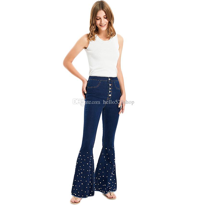 Kadın İnci Geniş paçalı pantolon Kot Flared Bell Alt Pantolon Bayanlar 1970 Disko Hippy Fantezi Elbise S M L XL XXL XXXL XXXXL
