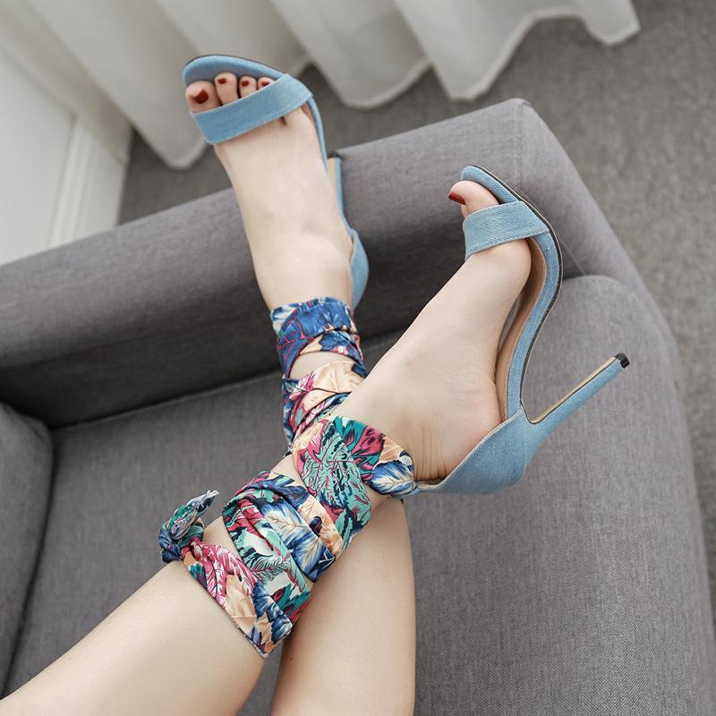 nero blu tacchi alti alla caviglia sexy della cinghia dei sandali di seta della stampa di lusso punta aperta vestito di cuoio scarpe stringate 11.5cm formato 35-40
