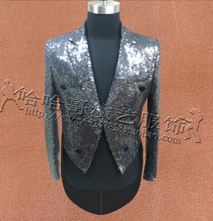 S-5XL 2017 Nouveau Mode de vêtements pour hommes minces Jacky Cheung pailletée scène de veste de costume smoking taille plus costumes chanteur robe formelle