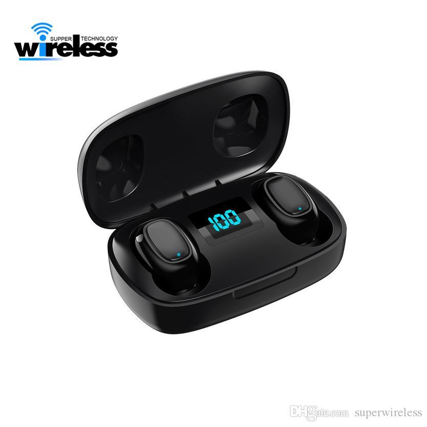 휴대 전화 헤드폰을위한 디지털 LED 무선 블루투스 이어폰 T10S 무선 이어폰 헤드셋 스테레오 서라운드 헤드셋
