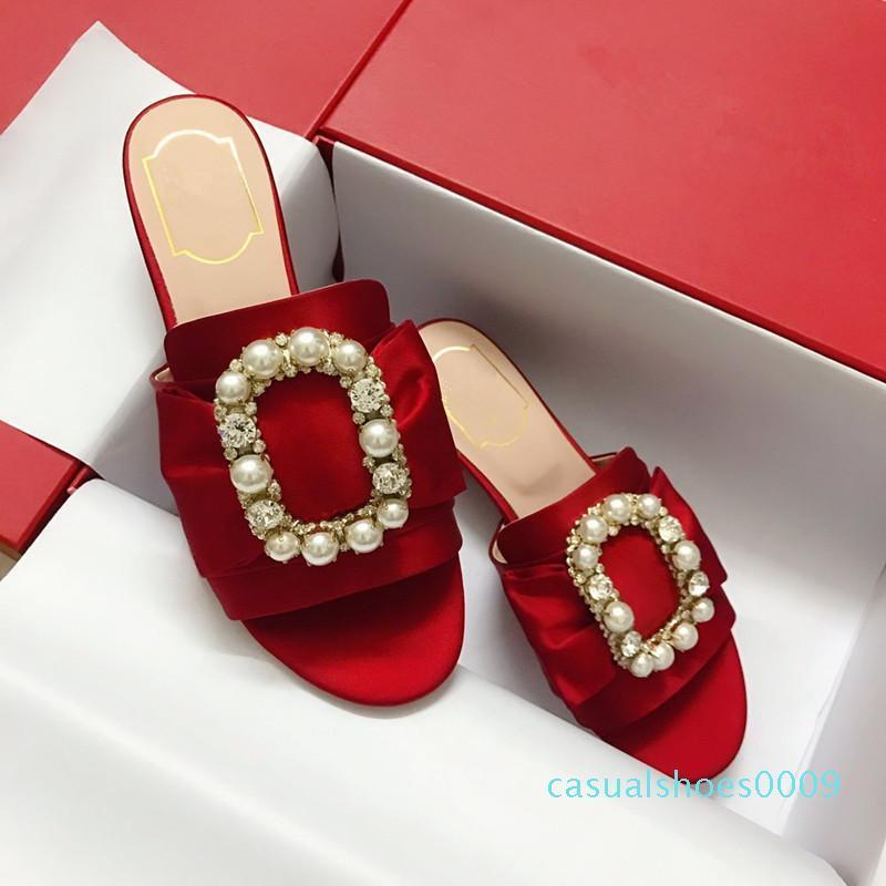 Neuesten Frauen Strass Low-Ferse Pantoffel bunte Perlen Designer Arbeit Sommer Frauen Sandalen Schuhe klassischer Trend Mode c09 Kleid
