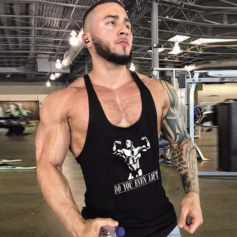 SIN 2019 Bodybuilding Muscle Sportswear Imprimé gilet En Vrac D'été Coton Frères Mot Cartoon Bande Dessinée Force Lettres GYM