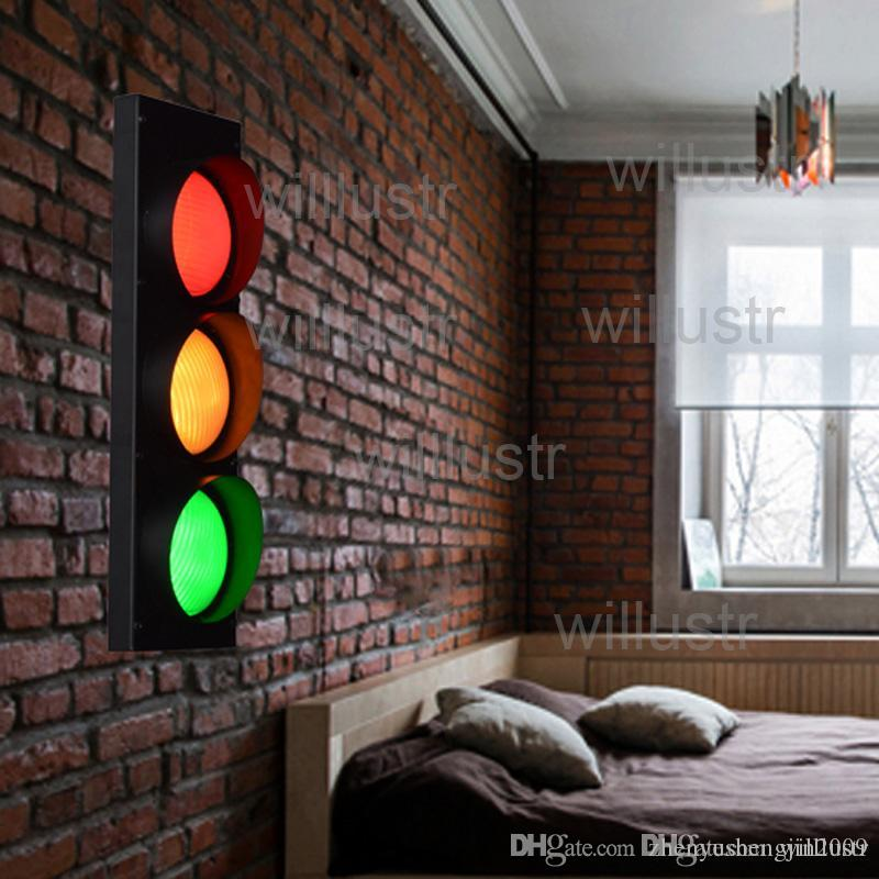 2021 Iron Wall Lamp Traffic Light Red Yellow Green Remote Control Living Room Restaurant Cafe Bedroom Hotel Hall Vintage Industrial Lighting From Zhenyushengjin2009, $85.93 | DHgate.Com
