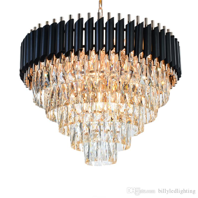 Kristal Yemek Avize Asılı Luster Zarif Siyah Modern LED Kristal Avize Oturma Odası Hall Fuayer için