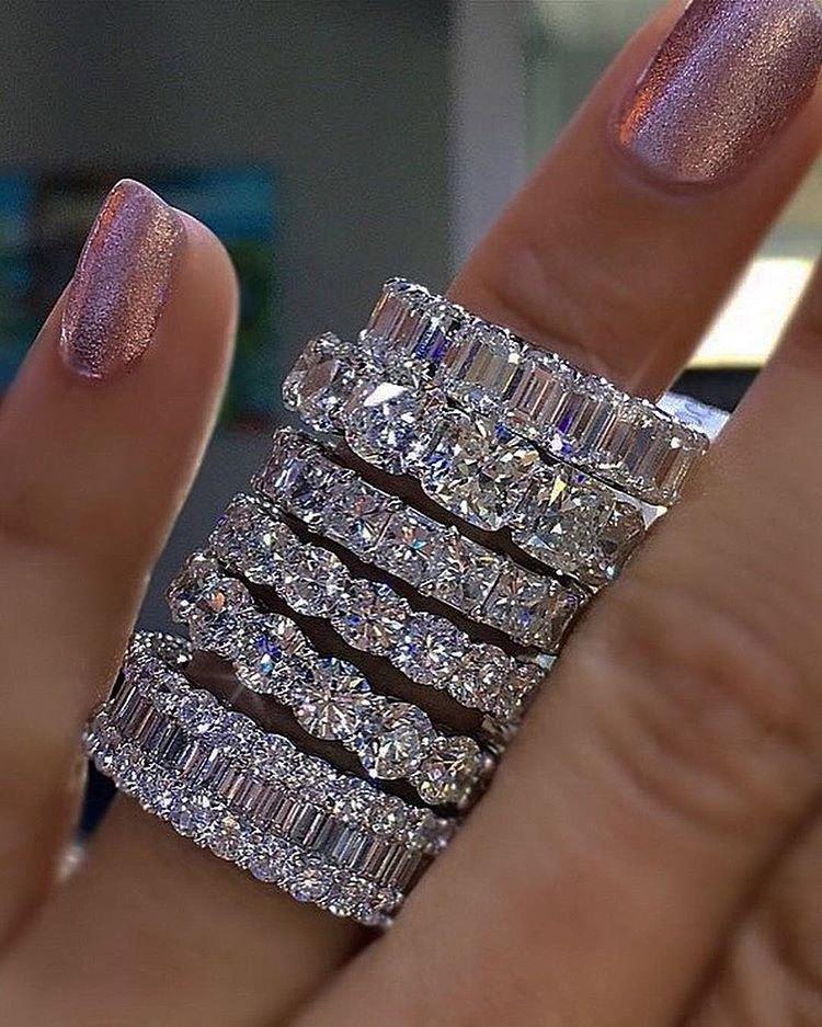 925 Plata Pave Ajuste Cuadrado Completo Diamante Simulado CZ Eternity Band Compromiso Anillos de piedra de boda Tamaño 5,6,8,9,10,11,12 CX200610