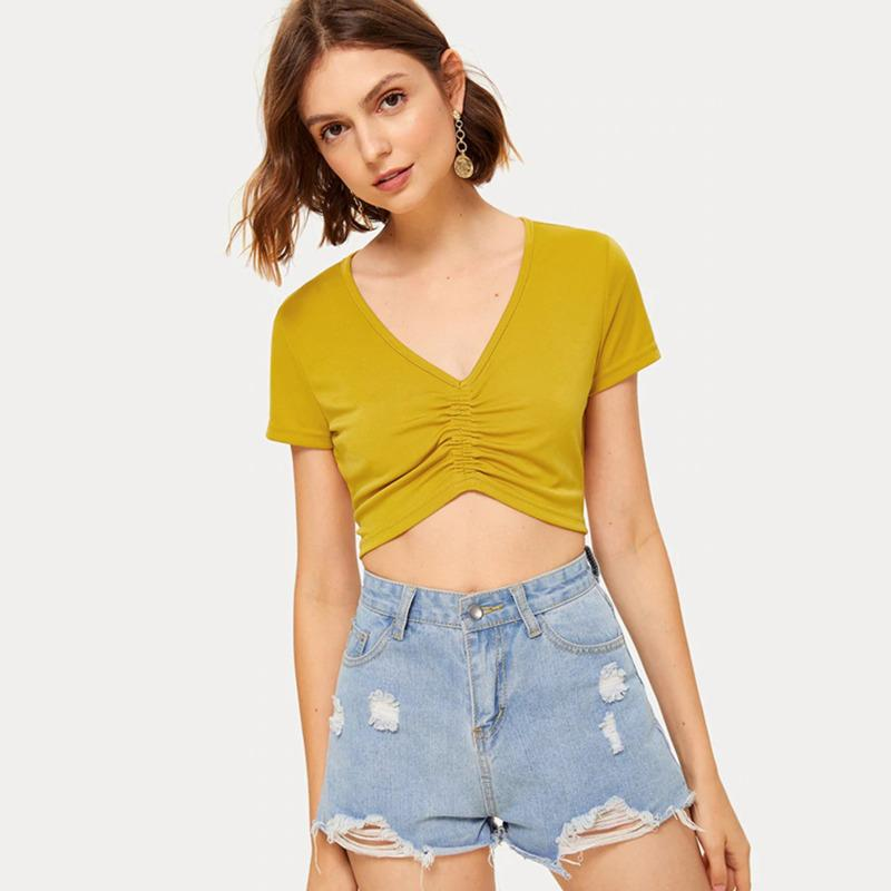 Women's T-Shirt T Shirt Solid Color Short Sleeve V Neck Ruching Top