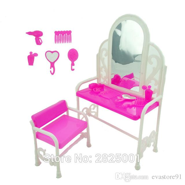 1 Set Dresser Desk Mirror Chair Comb Hand Mirror Hair Dryer Perfume Bottle 1:6 Dollhouse Accessories For Barbie FR Kurhn Doll