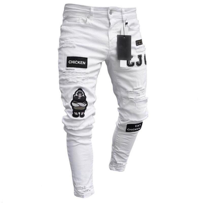 2020 Мужская Прохладный дизайнерский бренд Black Jeans Тощий рваные Разрушенный Stretch Slim Fit Hop Hop Брюки с отверстиями для мужчин