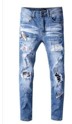 Heißer Verkauf! Top-Qualität Marken-Designer AMR Männer Denim dünne Jeans-Stickerei Hosen Fashion Holes Hosen US-Größe 28-40