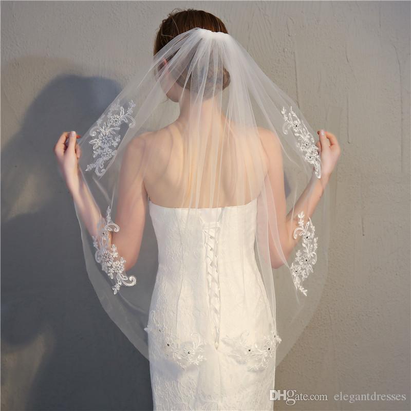 Кружевные аппликации кружевные аппликации 2021 Bridal вуаль один слой дешевые короткие свадебные вуаль формальные аксессуары для свадьбы