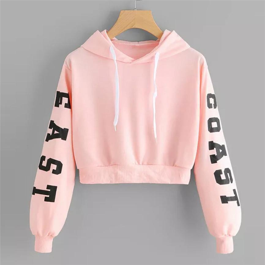 Women's Fashion Sweatshirt Womens Letters Long Sleeve Hoodie Sweatshirt Pullover Tops Dropshipping Cropped Size XS-XL