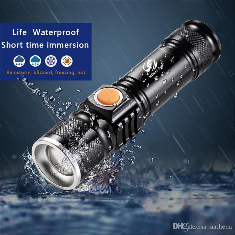 Puissante lampe de poche LED USB arrière de chargement tête zoomables lampe de poche étanche portable lumière 3 éclairage en mode batterie intégrée