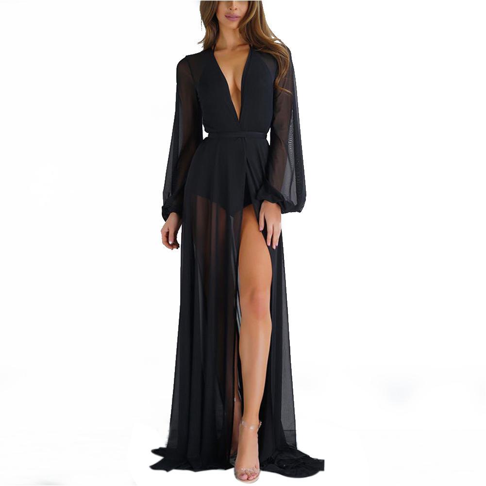 Ladies Verão polyeste Casual Mulheres Swimwear Sólidos Suit Bikini Cover Up Bathing Longo Praia macia Vestido Maxi Beachwear Túnica