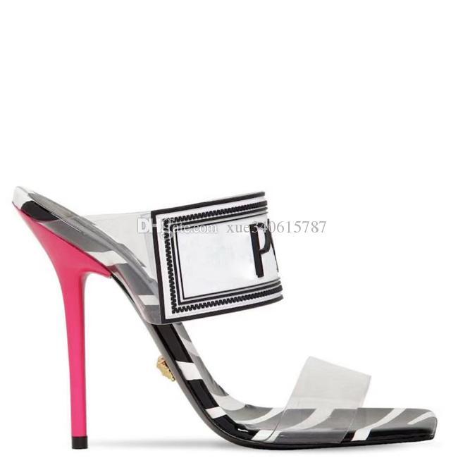 실제 신발 큰 크기 42 43 여성 샌들 럭셔리 디자이너 신발 슬라이드 여름 패션 스틸레토 발 뒤꿈치 미끄러운 PVC 샌들 슬리퍼 상자