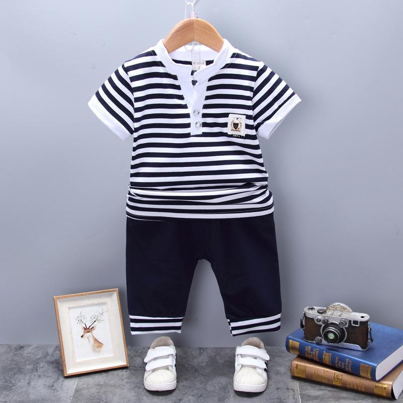 Children Summer Cotton Out Clothes Striped v neck Baby Boys Girls T Shirt Shorts 2Pcs/sets Infant Kids Fashion Toddler Tracksuit