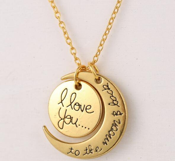 Fashion Necklace Moon Necklace Pendant I Love You To The Moon And Back For Mom Sister Family Pendant Link Chain Jewelry Party Gift