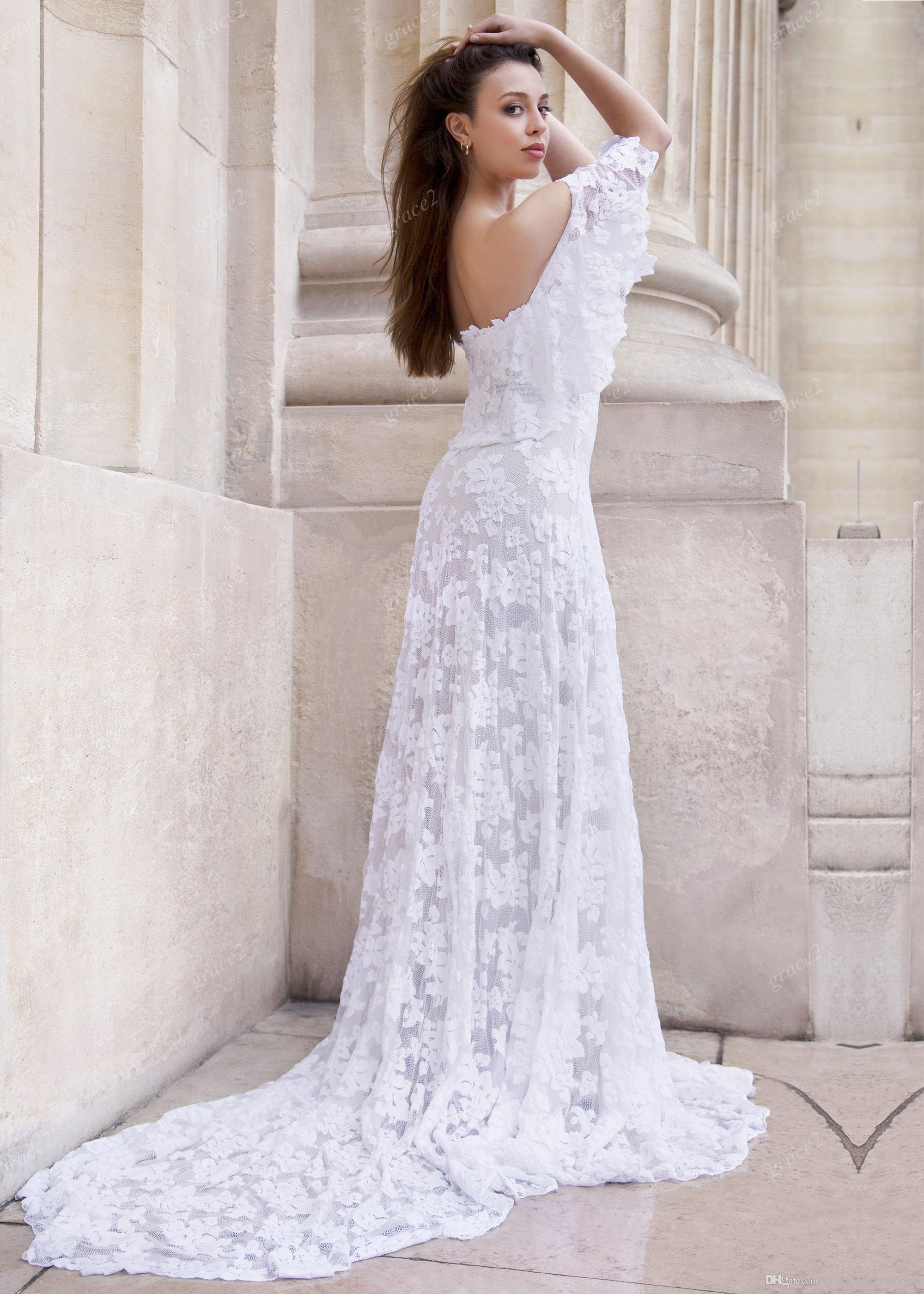 Fully Lace Bohemian Wedding Dresses 2019 with Off the Shoulder and Sexy Back Summer Beach Bridal Dress Custom Boho