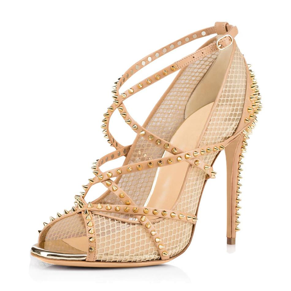 Hot Sale-New Arrival Stud Rivet High Heel Sandal Buckle Female Sandals Cross Straps Peep Toe Women Summer Party Wedding Shoes Thin Heels