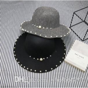 Spring Korean Pearl Woo Cap Dome Hat Beaded Big Sun Cap Elegant Wave Hat Women's Tide