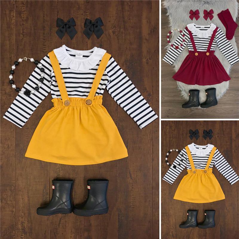 PUDCOCO Tout-petits enfants bébé automne Casual rayé Outfit enfants Vêtements Ensembles Hauts T-shirt + Tutu + Jupes Bandeau 3PCS Set 2-7Y