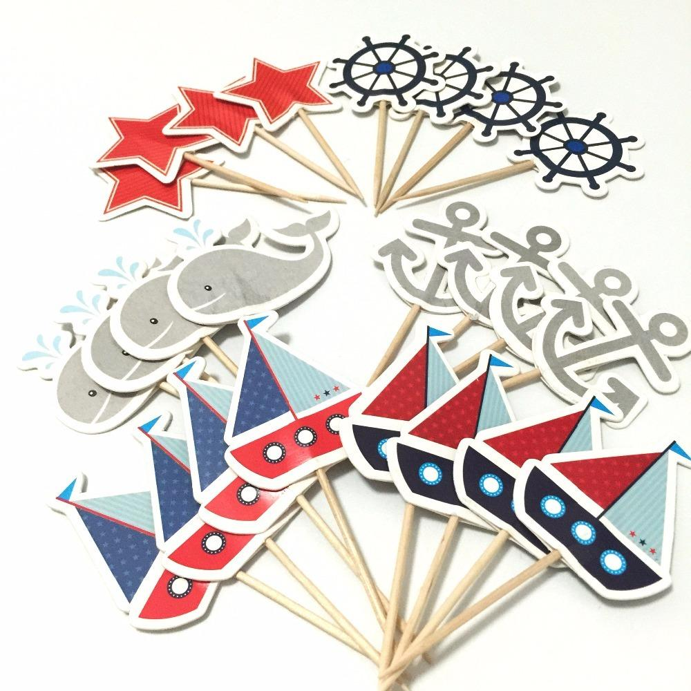 Cupcake Decorations 24pcs Mediterranean Sailor Ship Anchor Cake Topper cupcake picks flags for Kids Children Birthday Party Y200618