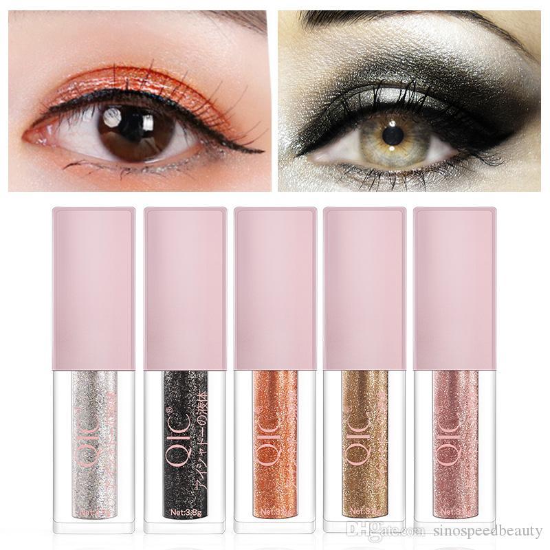 QIC 8 Colors Waterproof Shining Liquid Eyeshadow Glitter For Eye Decoration Long-lasting Diamond Makeup Eyeshdow Palette Tools SG1802