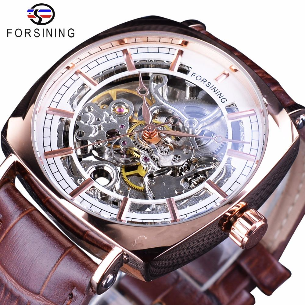 Forsining Brown en cuir véritable mode Royal Luxury Rose d'or Transparent Skeleton Hommes Mécanique Automatique Montres Top Marque