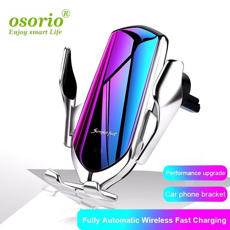 1 PCS R1 voiture chargeur sans fil 10W automatique Téléphone Clamping support voiture Position Air Vent Qi Wireless Support Chargeur pour Samsung S11 S10
