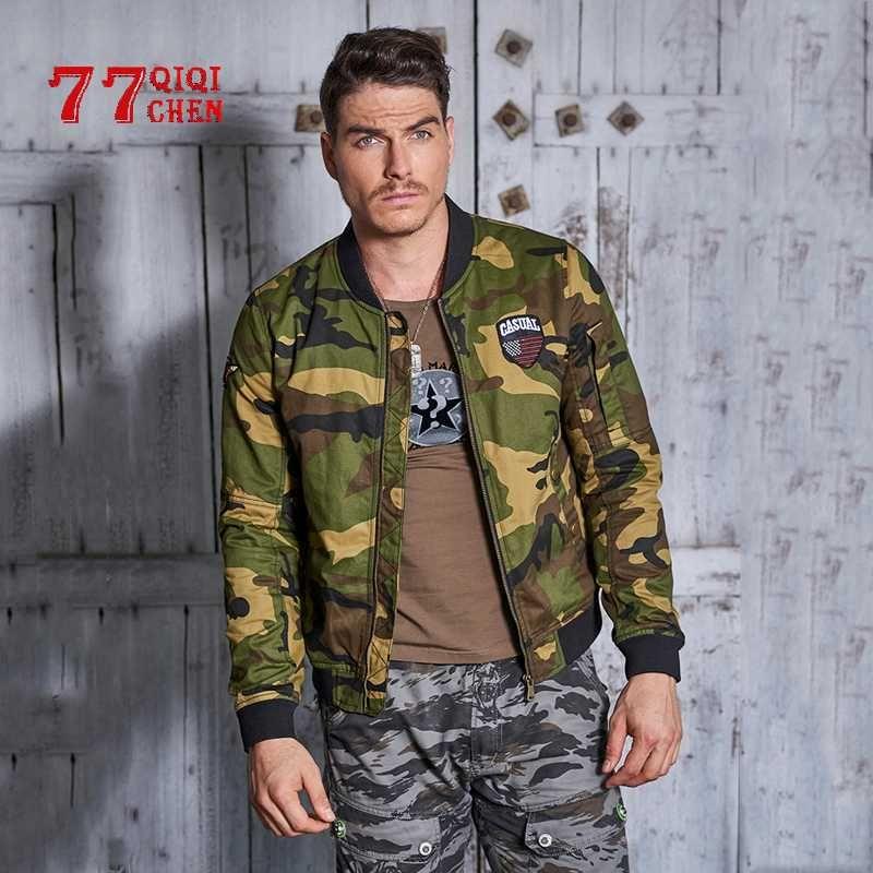 dos homens camuflagem Baseball Jackets Camo Bomber Jacket Coats Masculino 2020 New Outono de alta qualidade do algodão Outwear Masculino Tamanho 3XL