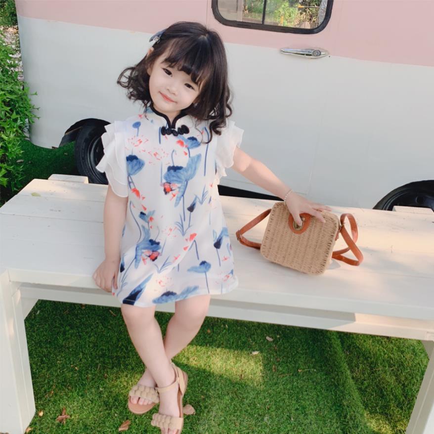 Kızlar Bebek Elbise 2019 Yaz Yeni Çin Tarzı Baskı Balıkçı Yaka Örgü Elbiseler Çocuk Moda Ruffles Zarif Elbise Ws724