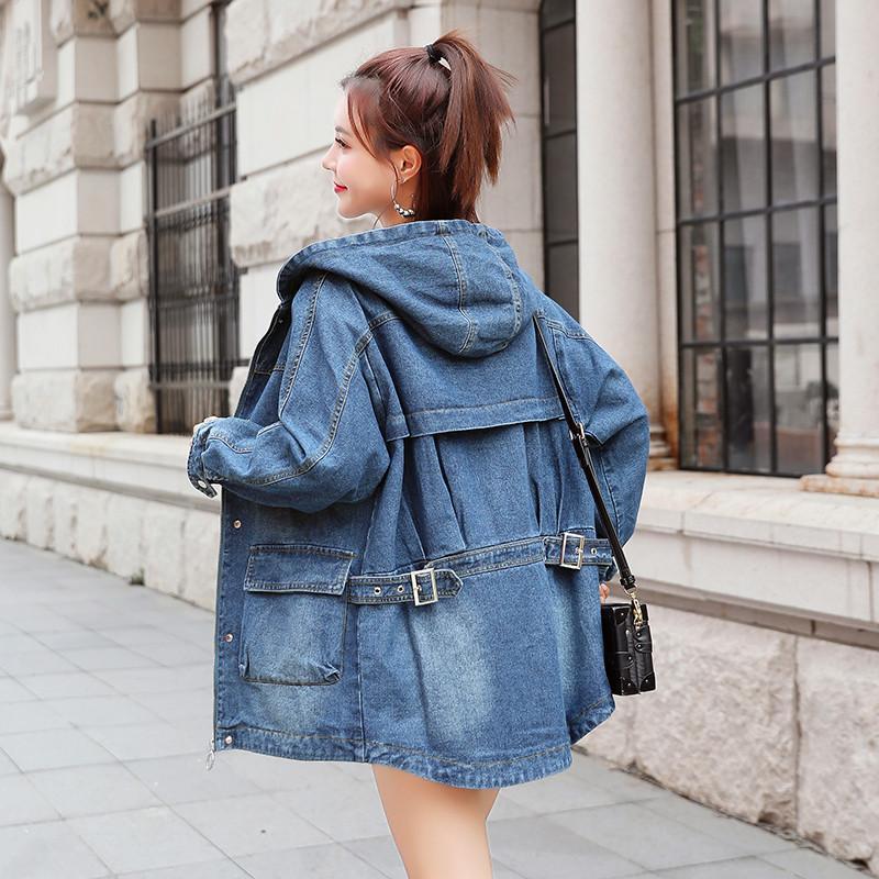 New Plus Size Primavera Outono Mulheres Coats Pockets Casual soltas Sólidos Coat para mulheres Denim Casacos com capuz Tooling Jeans Trench